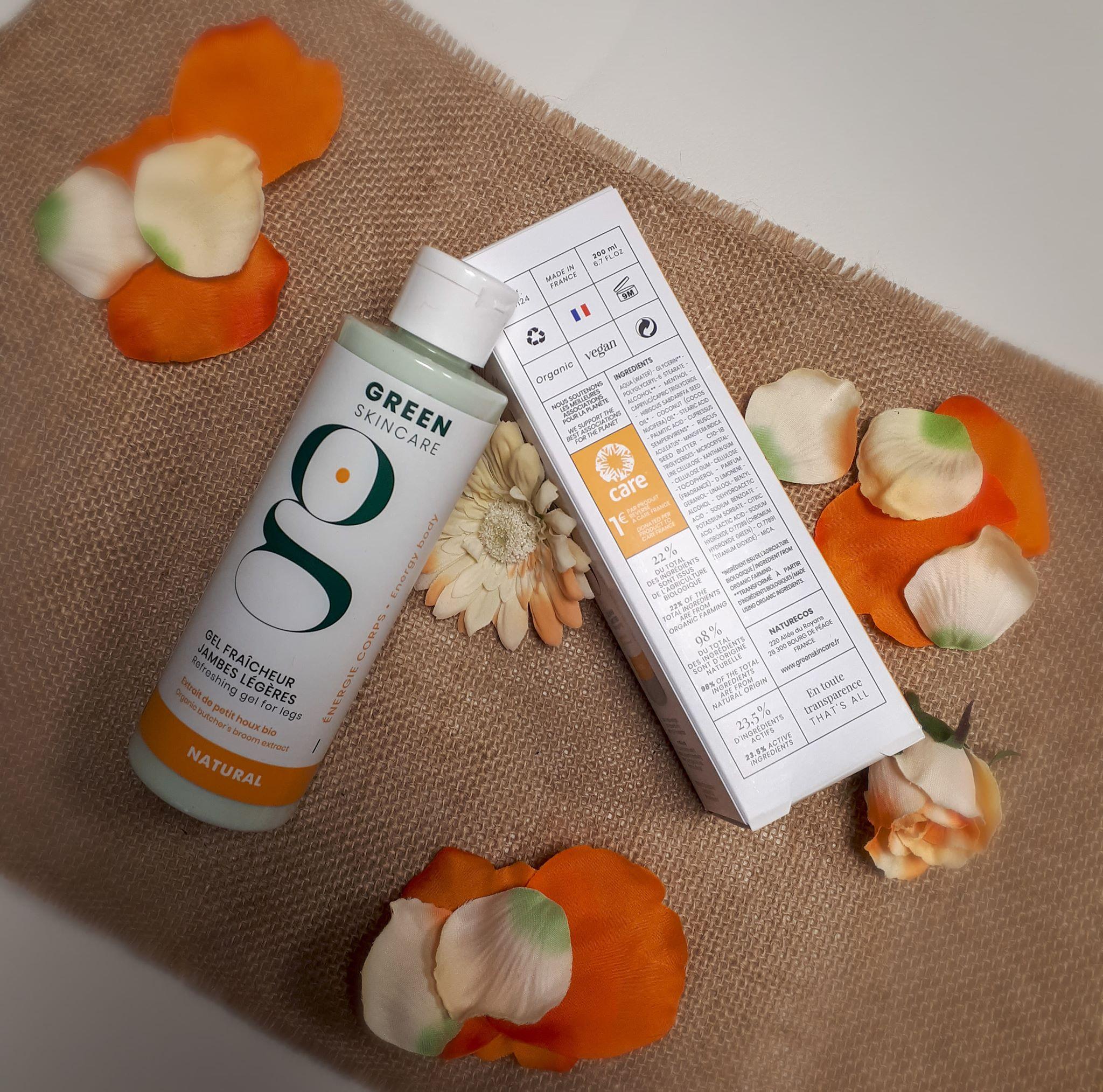 Produit gel fraîcheur james légères marque bio Green Skincare, Institut de beauté Emeline Esthétique 85 La Verrie