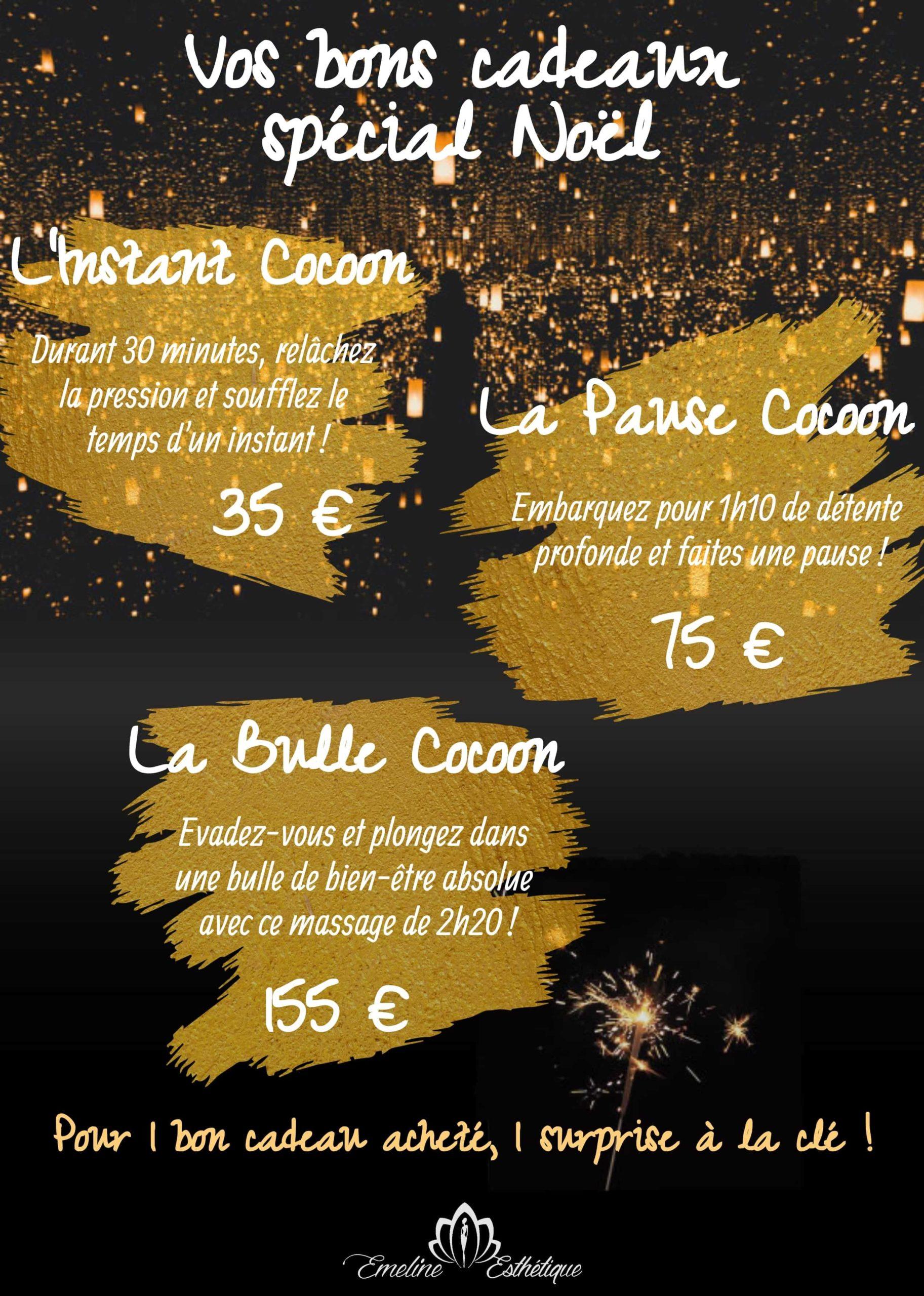 Affiche présentant les 3 bons cadeaux spécial Noël 2020, institut de beauté Emeline Esthétique 85130 La Verrie, esthéticienne