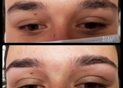 Photo avant/après d'une épilation des sourcils au fil, institut de beauté Emeline Esthétique 85130 La Verrie