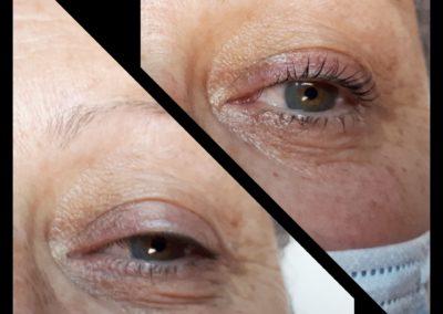 Photo avant/après d'un rehaussement de cils Yumi Lashes, institut de beauté Emeline Esthétique 85130 La Verrie
